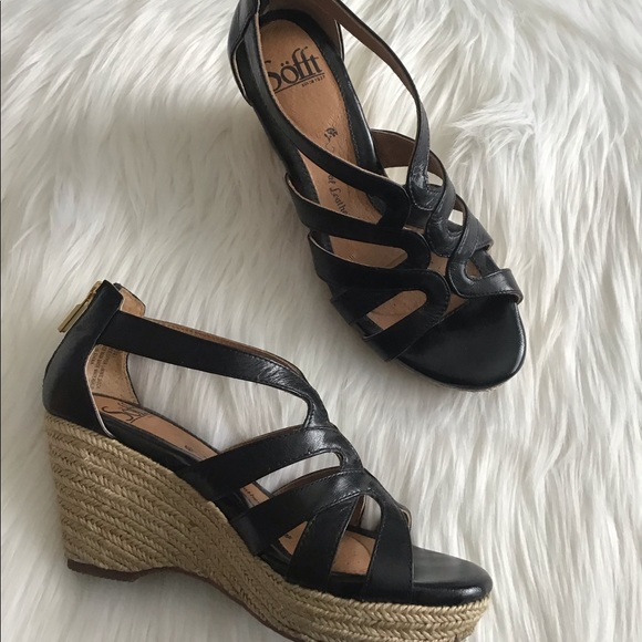 a4b9e4b397 Sofft Shoes | Mena Black Leather Espadrille Wedges 6m | Poshmark
